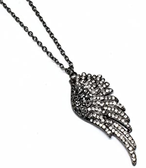 Fancy Angel Wing Crystal Long Necklace Black 36 Inches