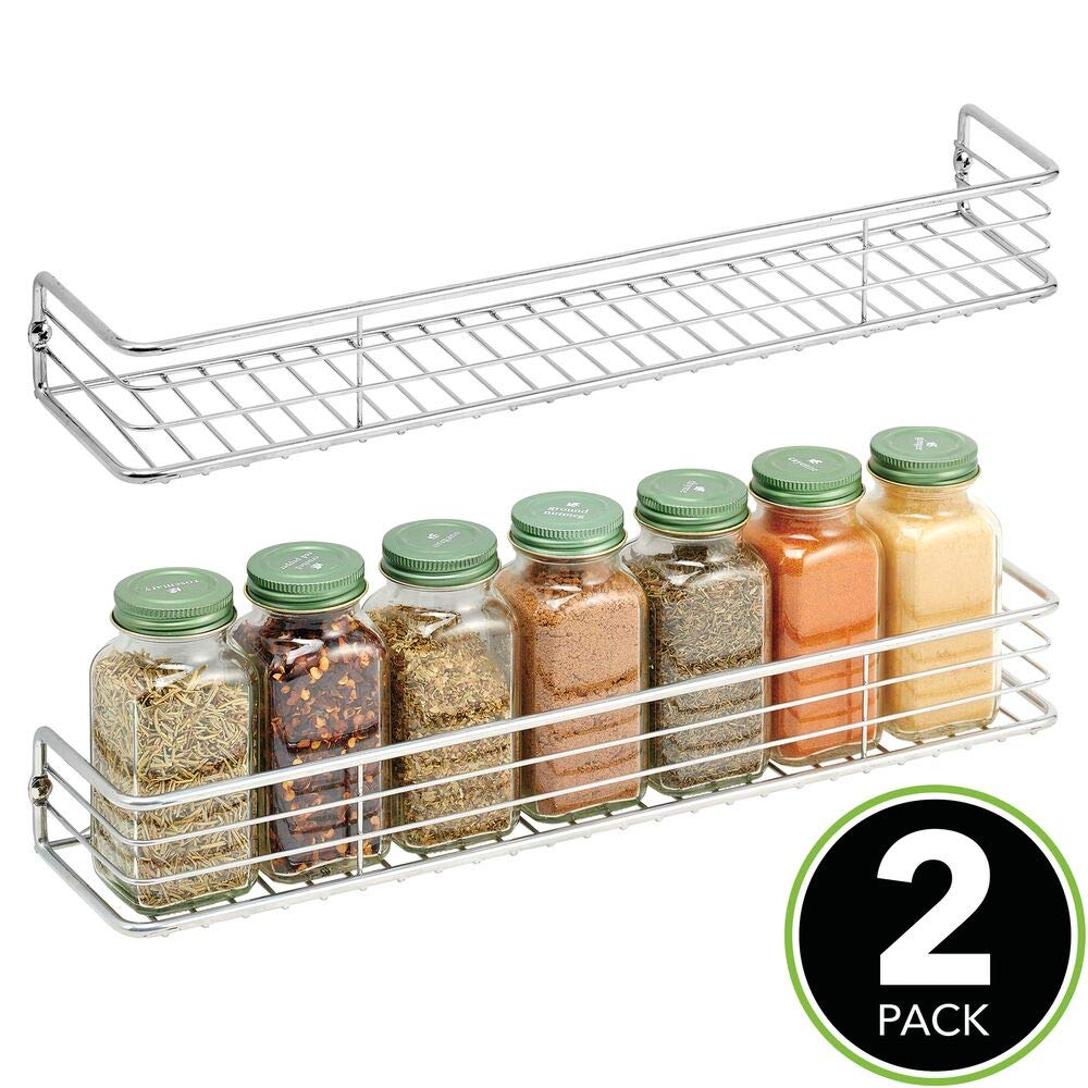 mDesign Metal Wire Farmhouse Wall Mount Spice Rack Cabinet, Cupboard, Food Pantry, Shelf Organizer Spice Bottle Rack Holder - 16 Inches - 2 Pack - Chrome