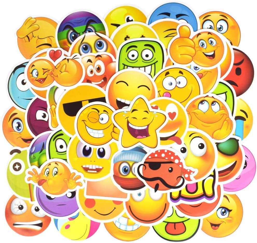 EHOPE Smile Face Waterproof Vinyl Emoji Stickers Personalize Laptop Car Helmet Skateboard Luggage Graffiti Decals (50pcs)