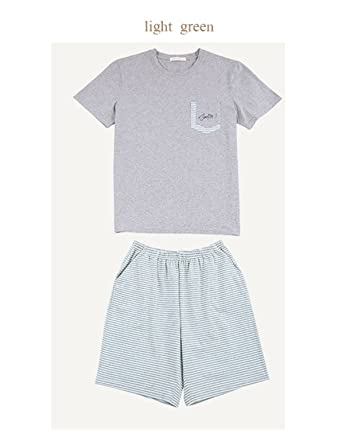 8608820f9188 Wigeo Men Summer Pajama Set Pure Cotton Short Spell Color Stripe Pyjamas  Mens Pullover Thin Comfortable Men Pyjama Set at Amazon Men s Clothing  store