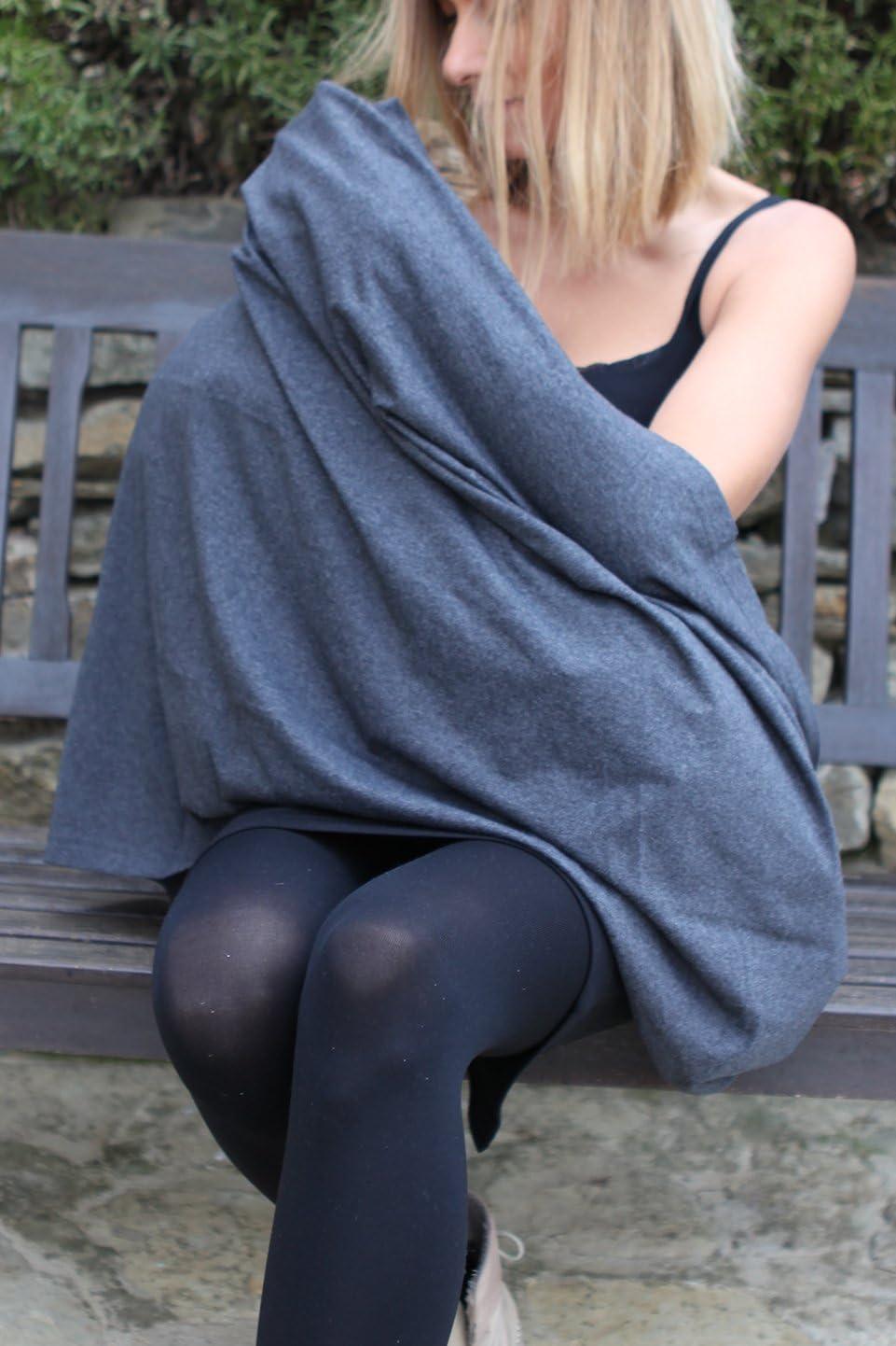 100 /% algod/ón ecol/ógico Bufanda de lactancia Infinity tela de alta calidad gris fabricada en Europa transpirable