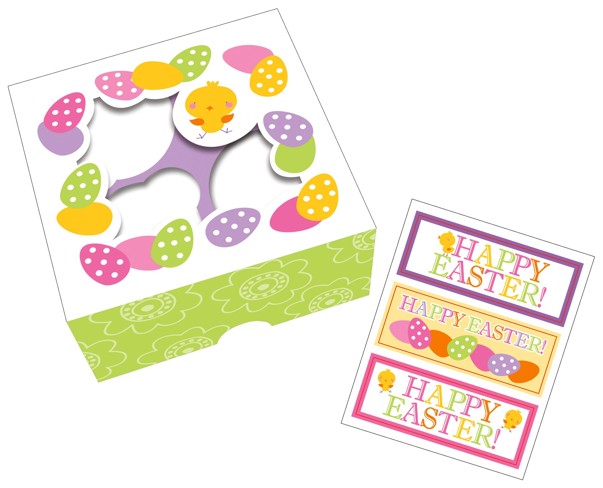 Creative Converting 3 Count Easter Treat Box with Windows and Stickers. Multicolor