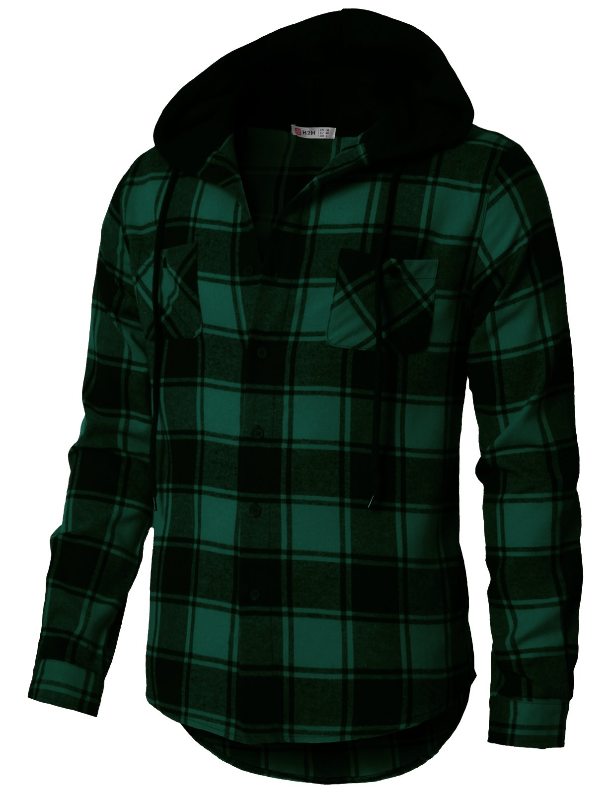 H2H Mens Casual Flannel Shirts Hoodie Jacket Green US XL/Asia 2XL (CMOJA0105)