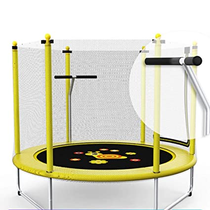 ZAQ Trampoline With Enclosure And Handle Outdoor Indoor Birthday Gifts For Kids