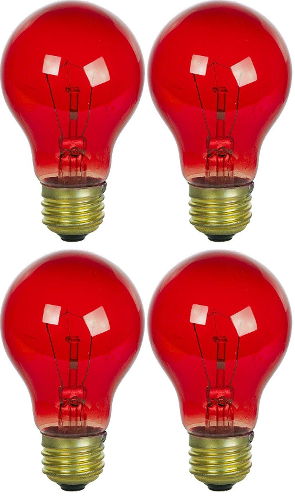 4 Pack 25 Watt A19 Colored Transparent Red Incandescent Medium Base Party Light Bulb