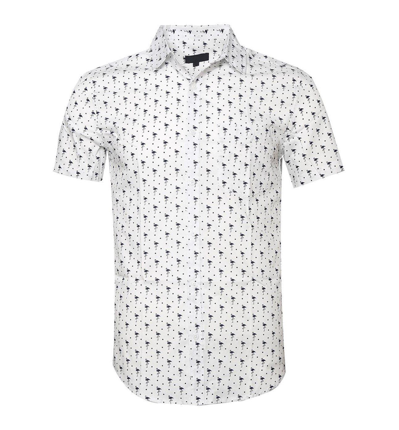 TOPORUS Mens Casual Swan Printed Short Sleeve Button Down Shirts B-White 2XL