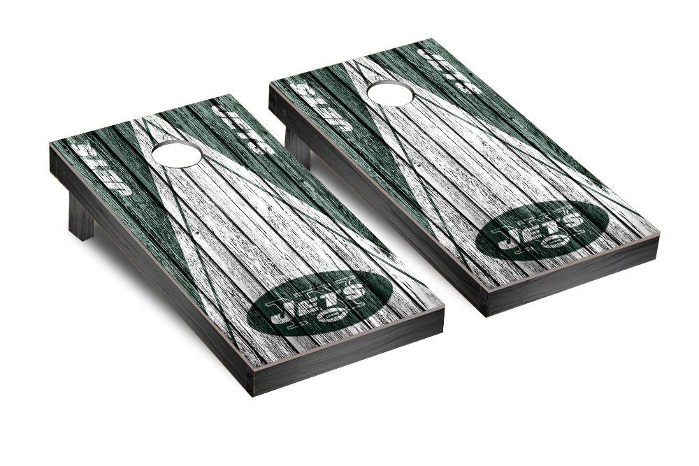 NFL New York Jets Triangle Weathered Version Football Corn hole Game Set, One Size