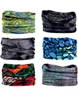 6PCS Multifunctional Headwear Headbands Bandana - Elastic Seamless Magic Scarf Tube Mask Sport Outdoor UV Resistance for Men Women Kids Unisex