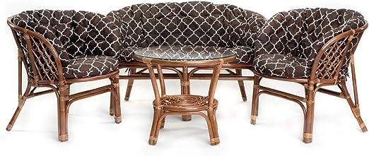 Ragnarök Juego de Muebles de jardín de ratán – Muebles de balcón – Muebles de jardín – Juego de Mesa – Juego de Muebles de balcón (Kissen Gemustert): Amazon.es: Jardín