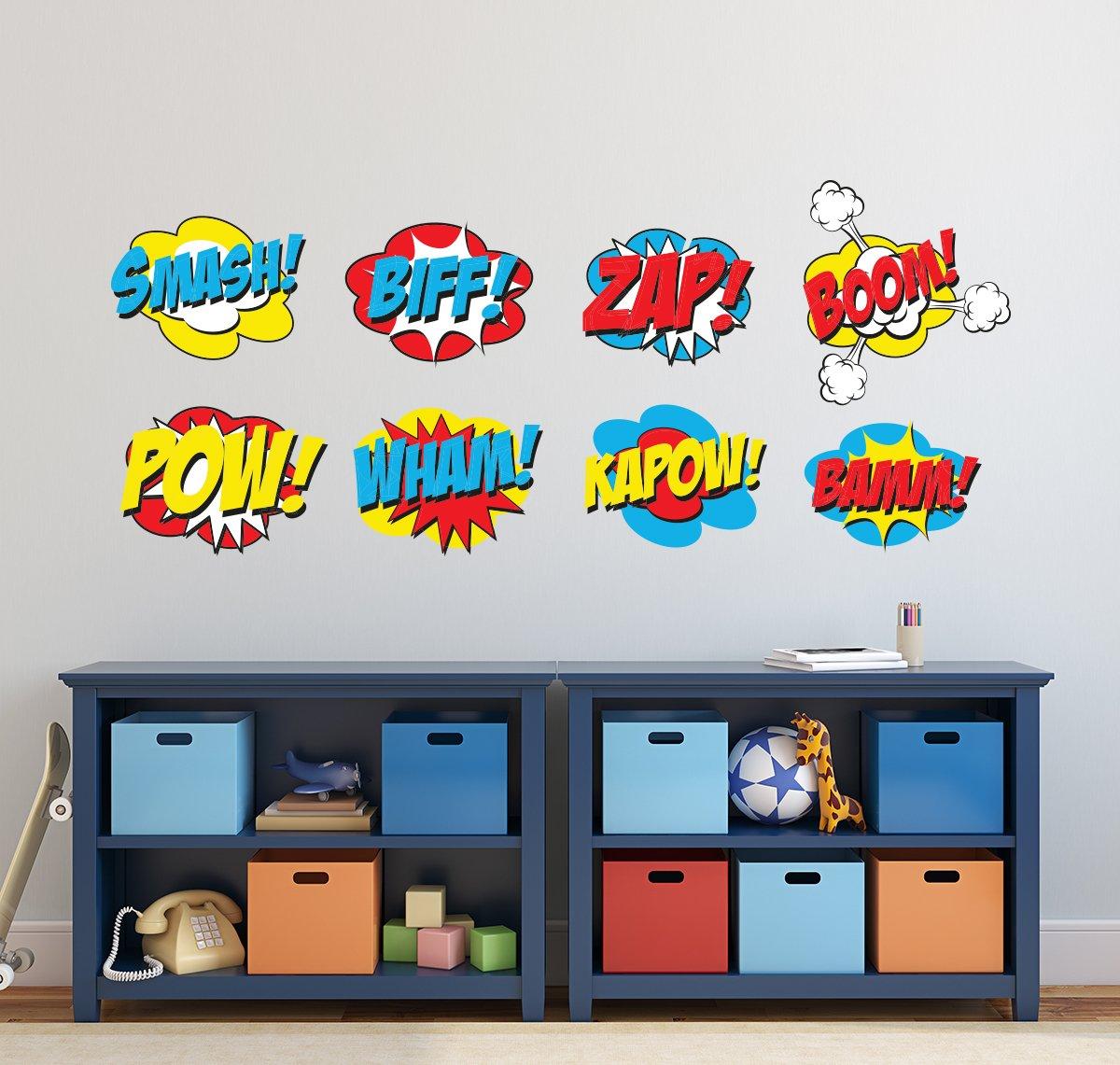 Comic Superheroes Wall Decal for Boys Kids Nursery Baby Room Mural Art Decor Vinyl Sticker LD22 4 Each