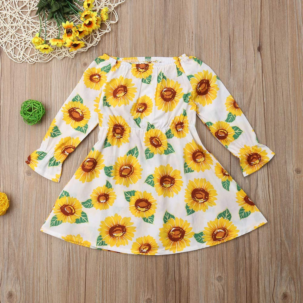 KONFA Toddler Baby Girl Autumn Winter Sunflowers Print Dress,for 0-4 Years Old,Little Princess Long Sleeve Skirt Clothes Set
