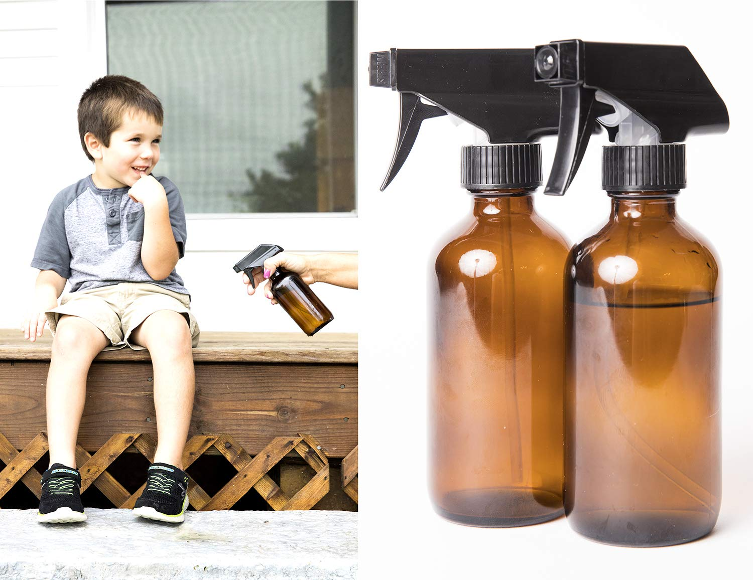 16oz Amber Spray Bottle 2 Pack with Sprayer Heads by Essential Living