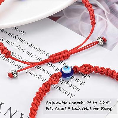 Tarsus Bigger Evil Eye Adjustable Bracelet Kabbalah Red String Amulet Nazar for Family Couple Bestfriend Women Men Girls