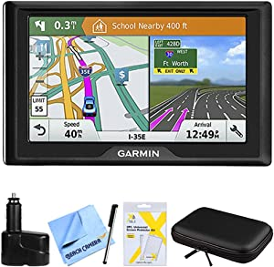 Garmin Drive 61 LM GPS Navigator with Driver Alerts USA (010-01679-0B) w/Accessories Bundle Includes, Dual 12V Car Charger, Hardshell Case for 7-Inch Tablets, Bamboo Stylus Mini + More
