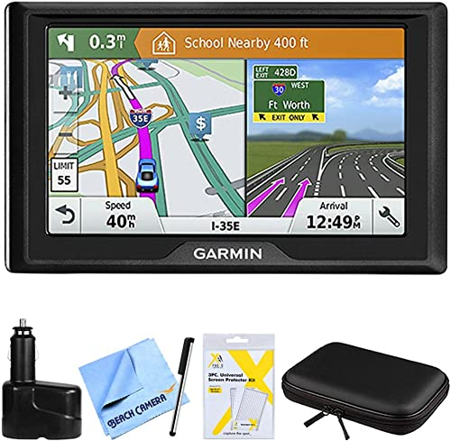 Garmin Drive 61 LM GPS Navigator with Driver Alerts USA 010-01679-0B w Accessories Bundle Includes, Dual 12V Car Charger, Hardshell Case for 7-Inch Tablets, Bamboo Stylus Mini More