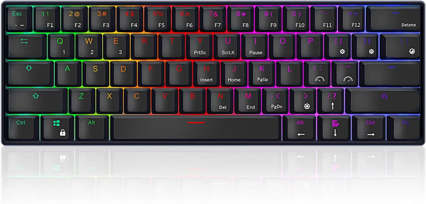 RK ROYAL KLUDGE RK61 RGB Wireless/Wired 60% Compact Mechanical Keyboard,61 Keys Bluetooth Small Portable Gaming Office Keyboard with Rechargeable Battery for Windows and Mac,Gateron Brown Switch,Black