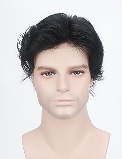 Lordhair 100% Echthaar Französisch Lace Hair Replacement System Jet Black 1 # Haarfarbe der Männer Toupet Perücke