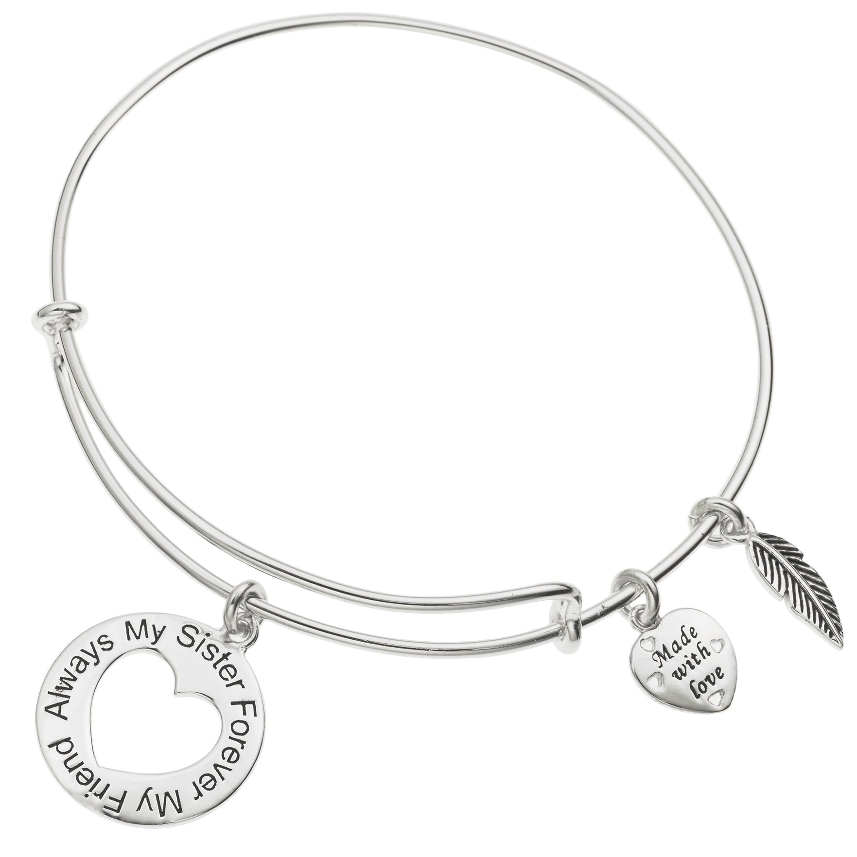 925 Sterling Silver Always My Sister Forever My Friend Heart Charm Adjustable Wire Bangle
