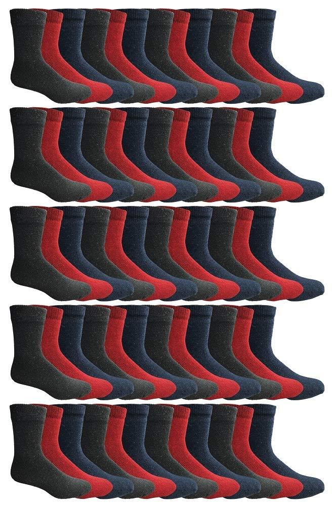 SOCKS'NBULK 60 Pairs Wholesale Bulk Sport Cotton Unisex Crew Socks, Ankle Socks, Value Deal (Womens - Assorted Thermal) by SOCKS'NBULK