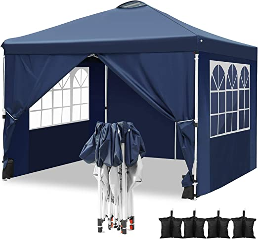 Hikole Carpa 3x3 Cenador Plegable Impermeables Carpas de Jardin Pop Up Gazebo con 4 Paredes Laterales y 4 Bolsa de Arena: Amazon.es: Jardín