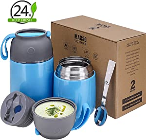 2 Pack Vacuum Insulated Food Jar Hot Food Containers for Lunch School Soup Thermos For Kids,Travel Food Flask Hot Cold (24oz,17oz)(Blue)