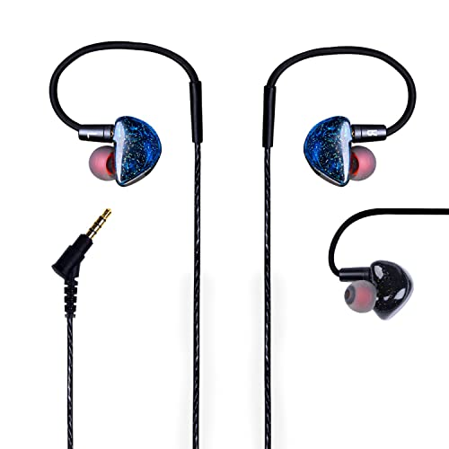 Deep Bass Earphones with Mic KINDEN In Ear HIFI Monitor Headphones Volume Control High Performance Stereo Noise Isolating Earbuds with MMCX Detachable Twisted Momeory Cable for iPhone Samsung HTC