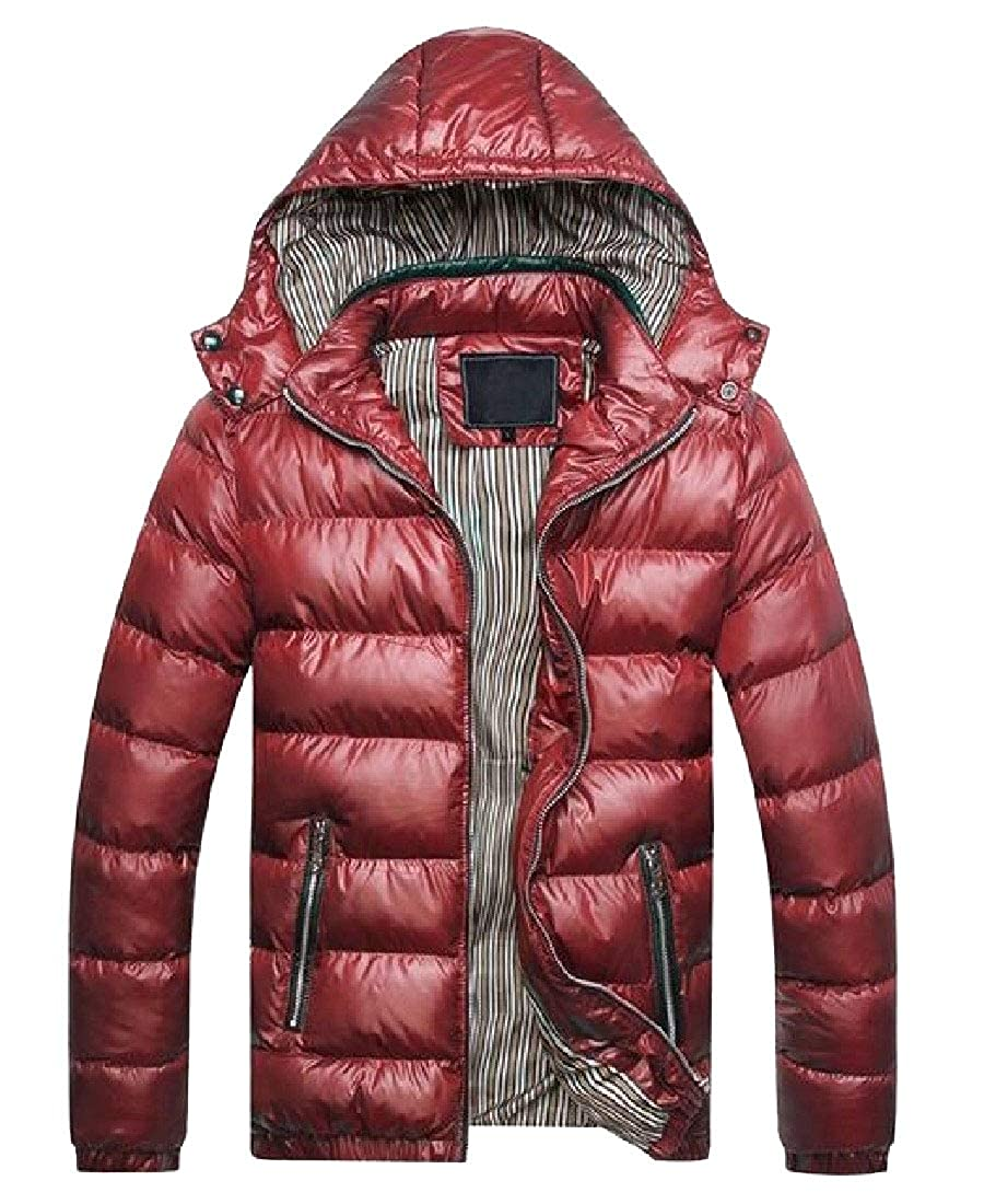 Highisa Mens Quilted Winter Thick Removable Hood Down Jacket Puffer Coats