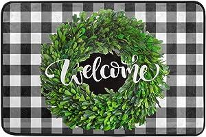 Welcome Boxwood Wreath Door Mats Black White Buffalo Check Plaid Floor Mat Indoor Door Mat Bathroom Doormat Welcome Mat for Kitchen Home Decor 23.6 x 15.7 inch