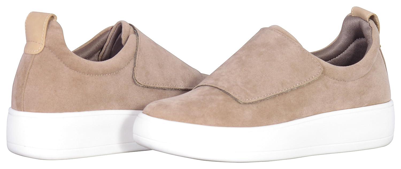 Glaze Women's Strap Low Top Fashion Sneaker B075SK2SB9 8.5 B(M) US|Taupe