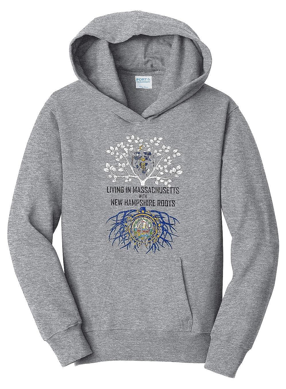 Tenacitee Girls Living in Massachusetts with New Hampshire Roots Hooded Sweatshirt