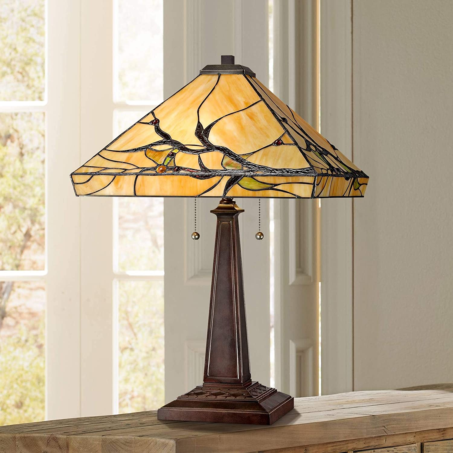 Budding Branch Mission Table Lamp Bronze Metal Glass Art Shade for Living Room Family Bedroom Bedside Office