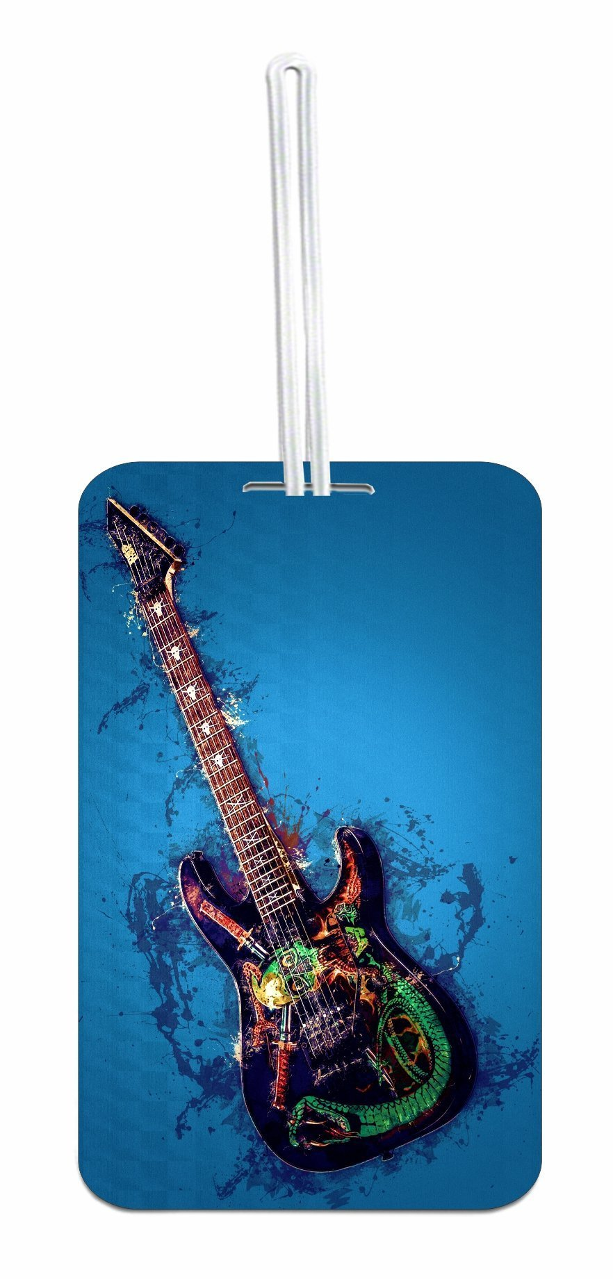 Electric Guitar Design Luggage Identifier ID Tag with Custom Reverse - Customize Yours Now