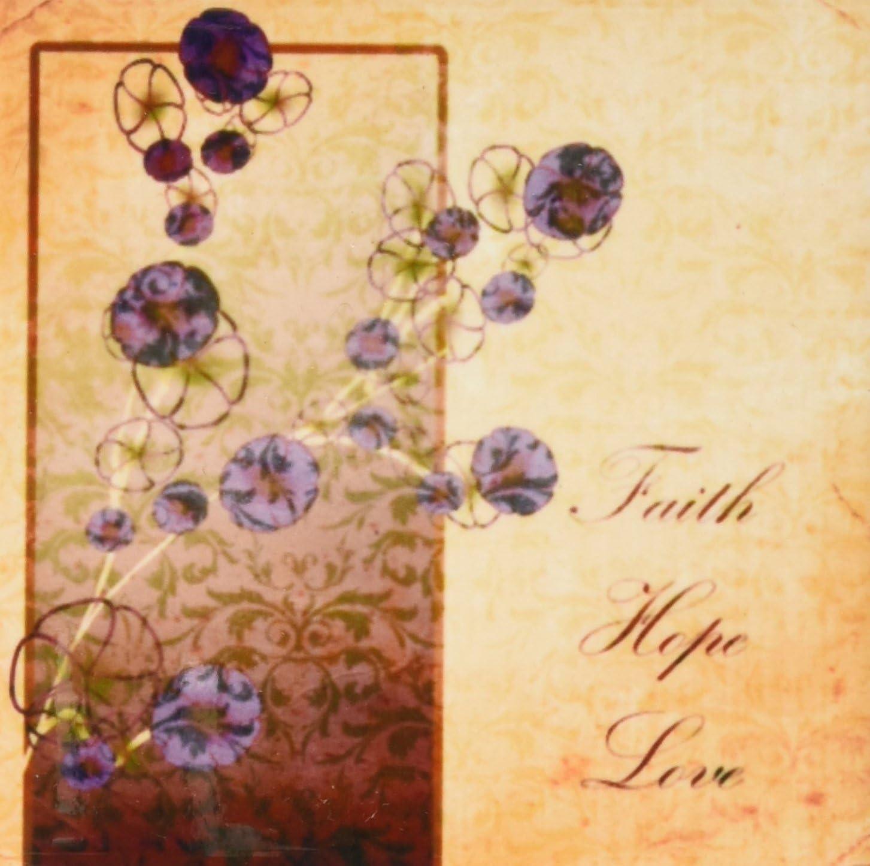 Love Floral-Ceramic Tile Coasters 3dRose cst/_99376/_3 Vintage Style Faith Hope Set of 4