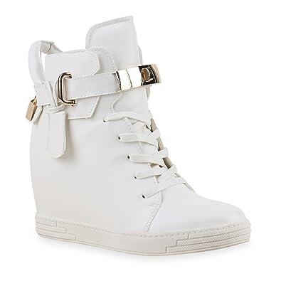 Damen Sneakers Keilabsatz Leder Optik Sneaker Wedges