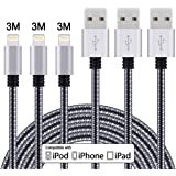 Cavo Lightning a USB Duractron 3Pack 3M cavo iphone compatibile con iPhone 8,7,7Plus,6Plus, 6S, 6S plus, 5, 5S, 5C, iPad Air, Mini, Mini 2, iPad 4, iPod 5 e iPod 7(Nero e Grigio)