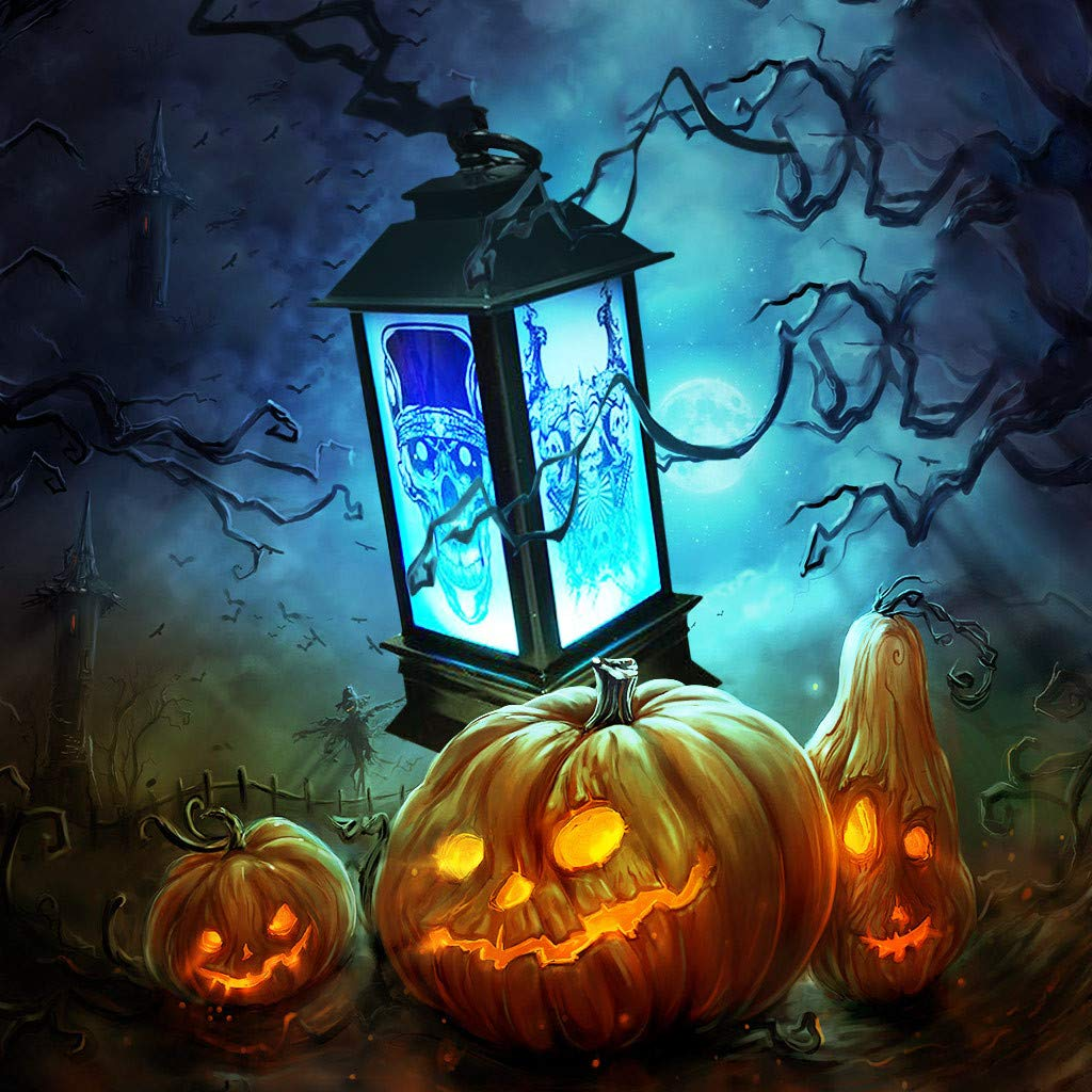 Sixcup Halloween Deco Atmosphere Decorative Props Plastic Glowing Night Lighthouse Light Party Decor Lights Outdoor and Indoor Colorful LED Decoration Lighting Black