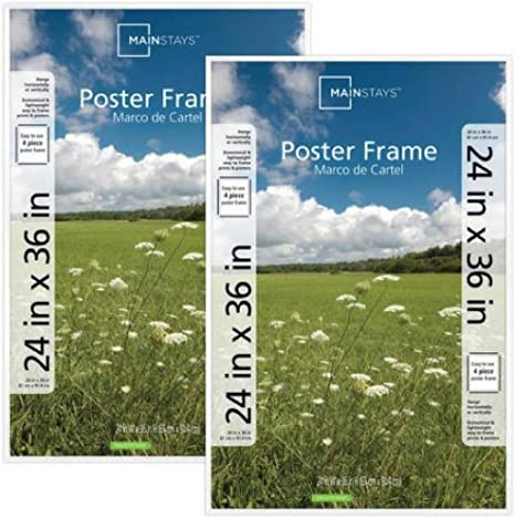 Mainstays 24x36 Basic Poster /& Picture Frame Set of 2 White