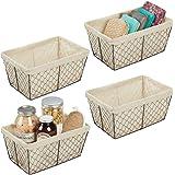 mDesign Metal Farmhouse Home Storage Organizer Basket - Chicken Wire Design, Fabric Liner - for Kitchen, Bathroom…
