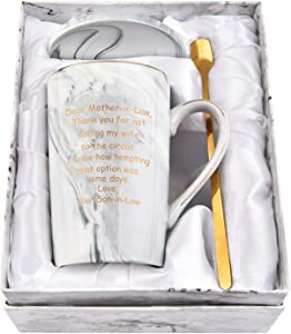 Dear Mother In Law Mug Mom Gifts from Son Mothers Day Gifts for Mom Mother In Law Mom Mug for Birthday Christmas Gifts Marble Mugs with Gift Box Spoon Coaster for Mom 14 Oz Gray