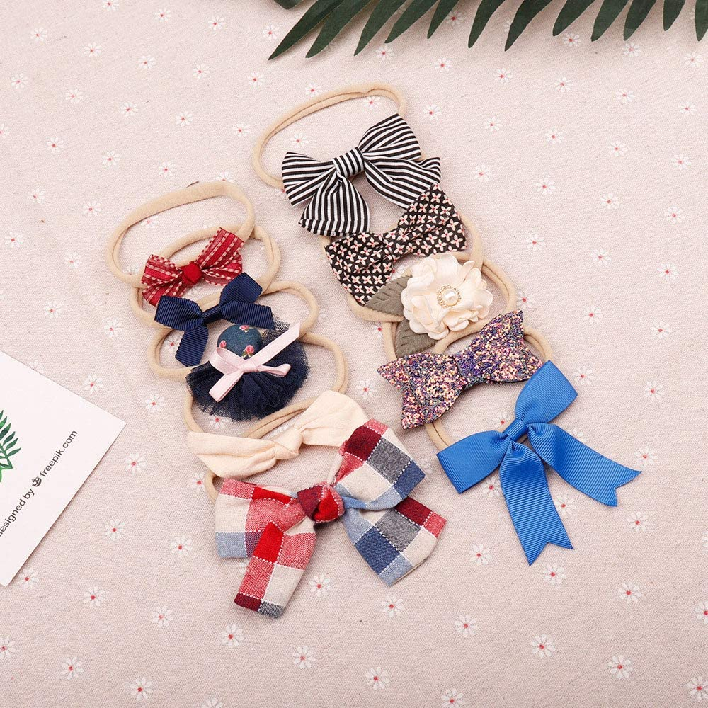 Baby Girl Headbands Bows Hat 10 Pack Newborn Hairbands for Infant Toddler Hair Accessories Gift