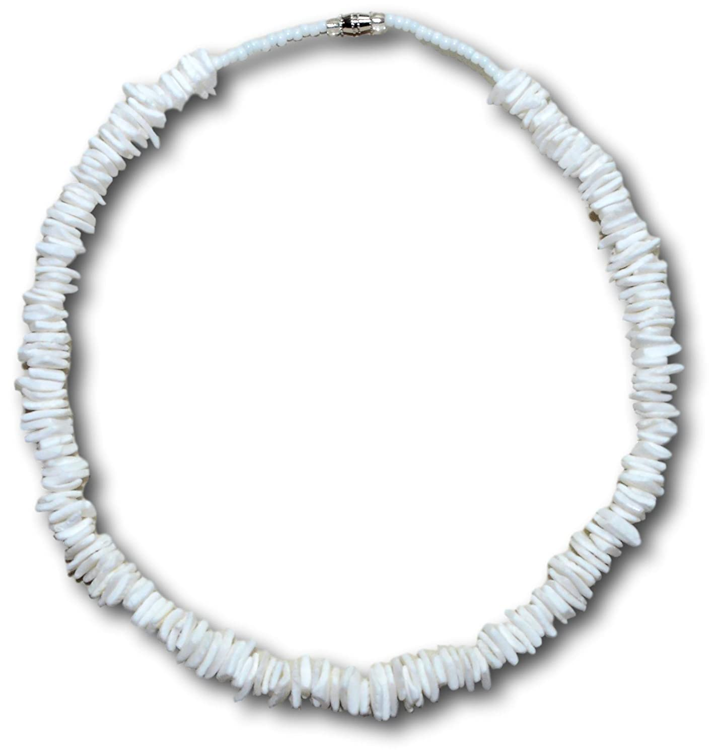 Native Treasure - White Rose Clam Chips Puka Shell Necklace Genuine Tropical Shell Necklace