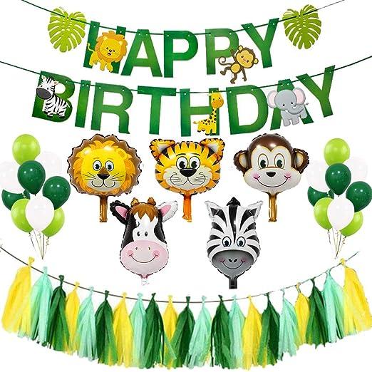 STOBOK Tema de animales Decoración de fiesta de cumpleaños ...