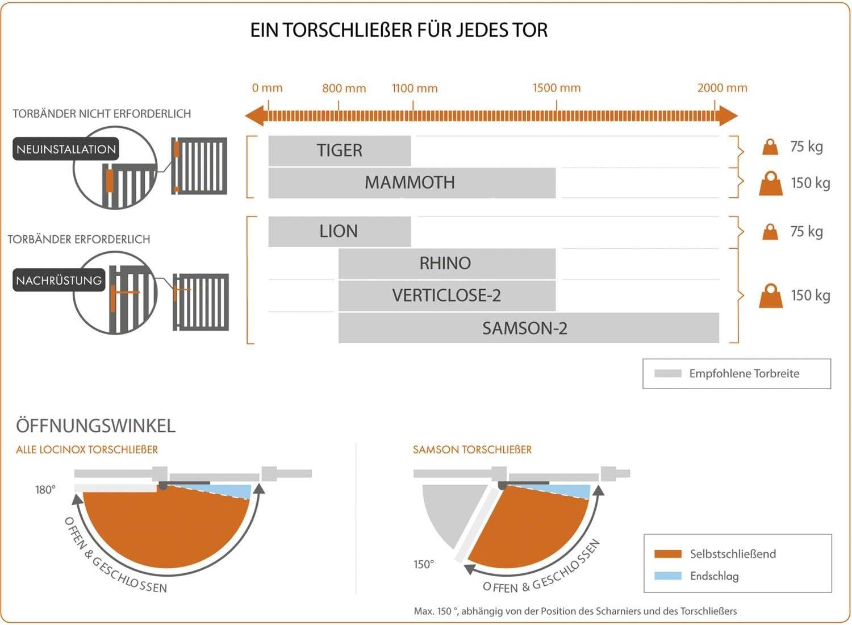 Locinox ZILV Lion Ferme-porte en aluminium pour portes jusqu/à 75 kg Argent/é
