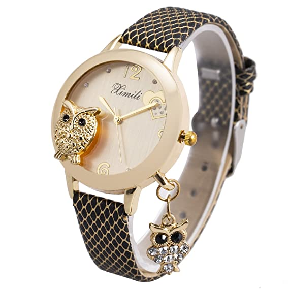 6251b5aed383 Reloj De Pulsera Dama Mujer Niña Oro Malla Negro Banda De Acero Inoxidable  SIBOSUN Búho Colgante Cristal Cuarzo  Amazon.es  Relojes