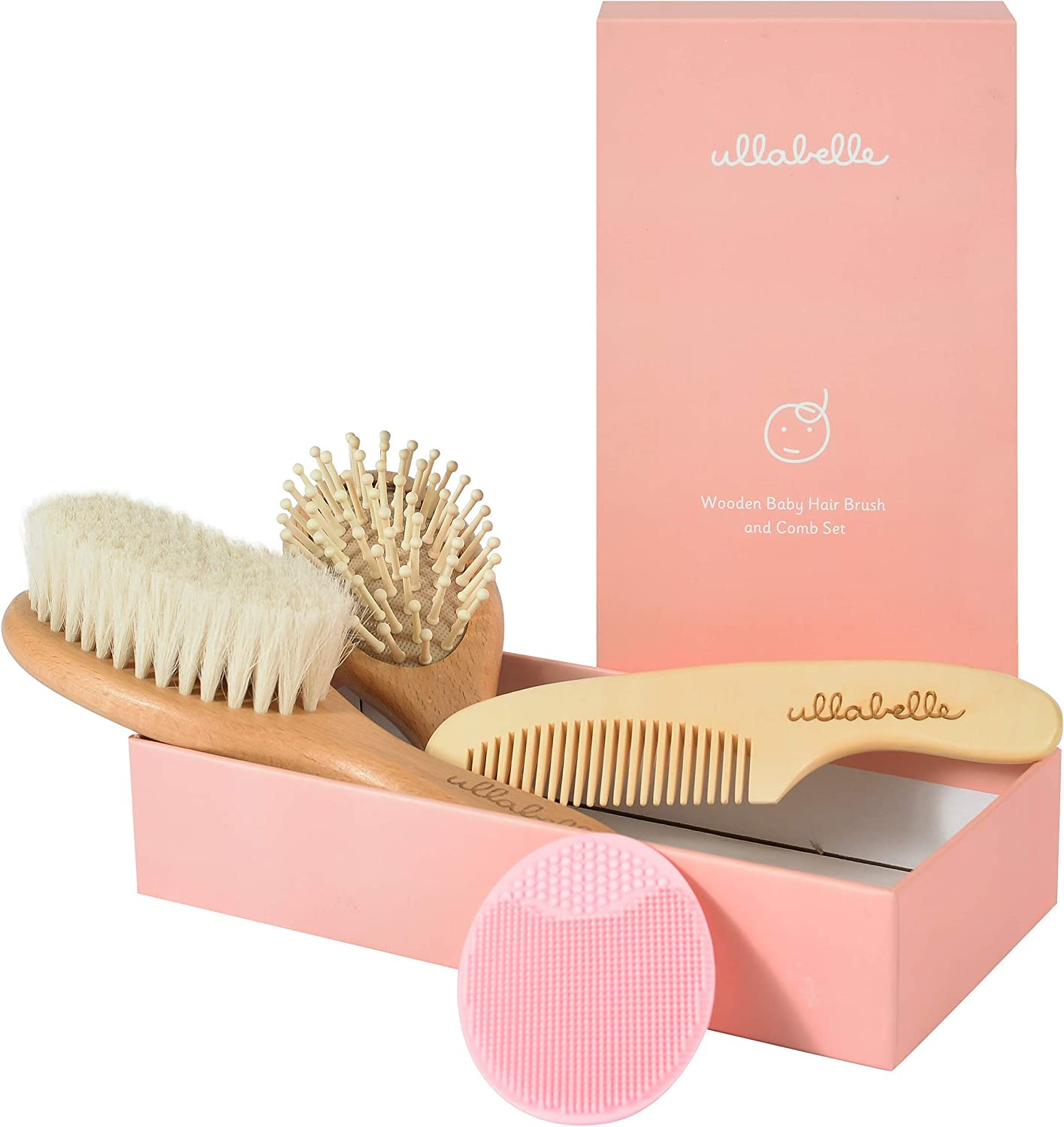 Ullabelle 4 Piece Wooden Baby Hair Brush and Comb Set for Newborns & Toddlers in Chic Gift Box - Ultra Soft Natural Goat Hair and Wood Baby Brush Set Prevents Cradle Cap - Perfect Registry Gift (Pink)