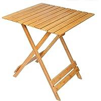 WOLTU BT06br Table Pliante Table de Jardin Table de Camping Pliable Table à Manger en Bambou,Taille 66 x 66 x 75 cm
