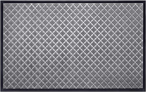 Mibao Low Profile Shoe Scraper Doormat Indoor Outdoor Floor Mat Entrance Rug for Front Door 36 x 60 , Gray