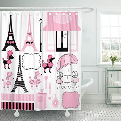 Amazon TOMPOP Shower Curtain French Paris And Pink Poodle Ooh