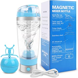 Yummy Sam Electric Shaker Bottle, Rechargeable Portable Protein Mixer, BPA-Free Battery-Powered 16 Oz Blender with Magnet Stirring Ball Easier to Clean, Self-Stirring Mug with Micro USB Cable