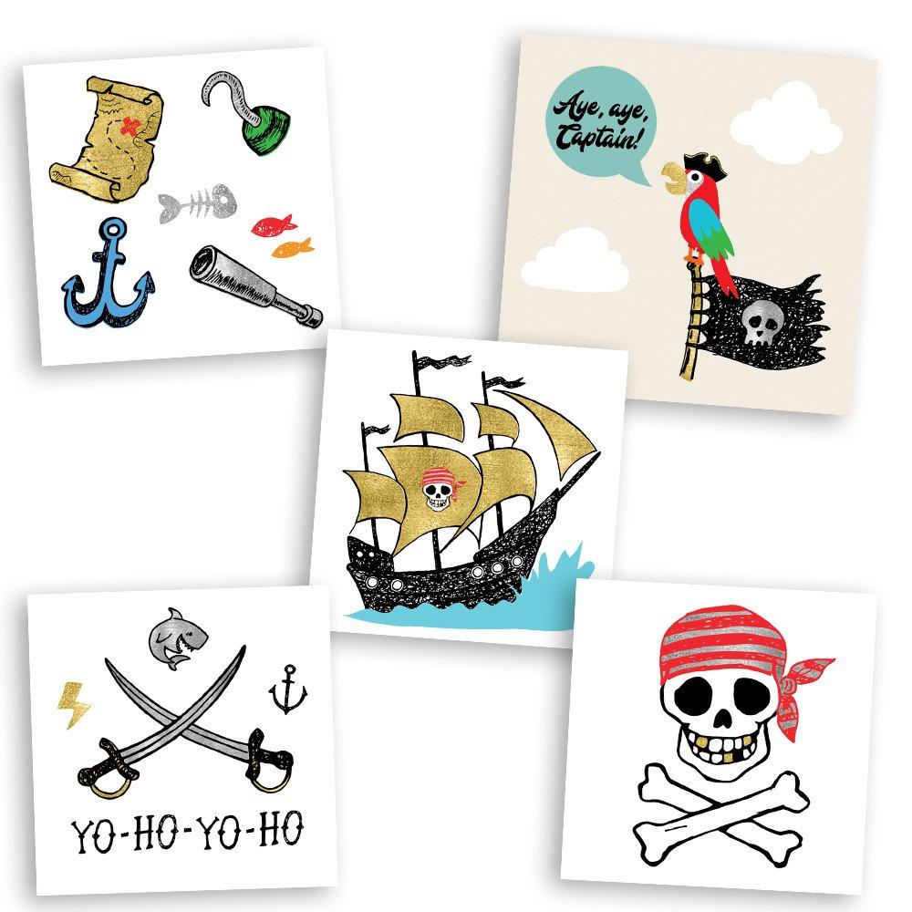 Pirate Variety Set of 25 assorted Flash Tattoos, premium waterproof metallic gold/silver/black kids temporary foil tat, gold tattoo, metallic tattoo, pirate party